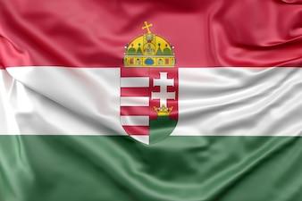 Drapeau de la Hongrie avec les armoiries