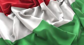 Drapeau de la Hongrie Ruffled Beautifully Waving Macro Plan rapproché