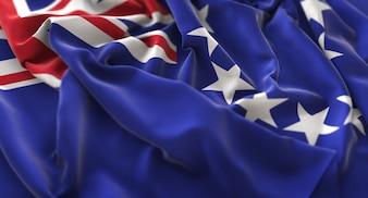 Drapeau des îles Cook Ruffled Beautifully Waving Macro Plan rapproché