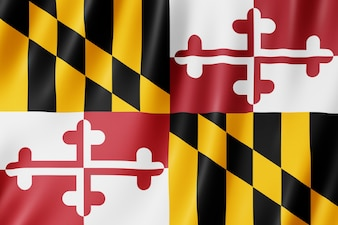 Drapeau du Maryland, États-Unis. Illustration 3D du drapeau du Maryland agitant.