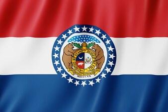 Drapeau du Missouri, États-Unis. Illustration 3D du drapeau du Missouri agitant.