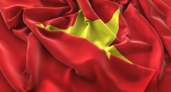 Drapeau du Vietnam Ruffled Beautifully Waving Macro Plan rapproché
