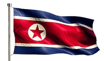 Drapeau national de Corée du Nord Isolé Fond blanc 3D