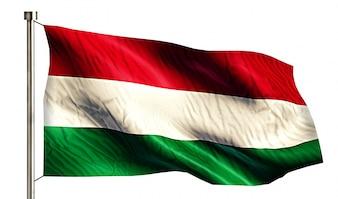 Drapeau national de Hongrie isolé Fond blanc 3D