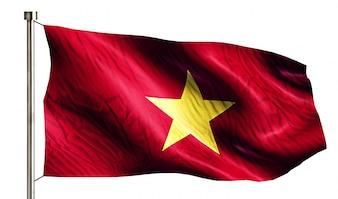 Drapeau national du Vietnam isolé Fond blanc 3D