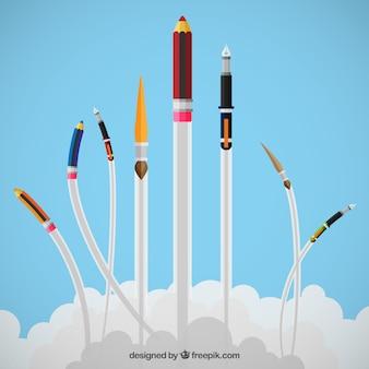 Dessin et de l'écriture des outils vol