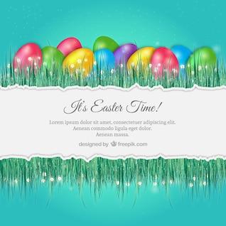Easter background avec des oeufs colorés