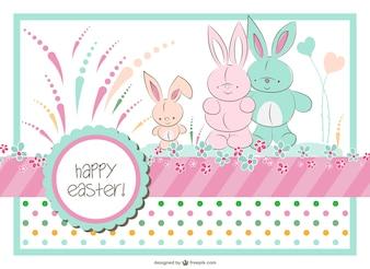 Vecteur de la famille lapin de Pâques
