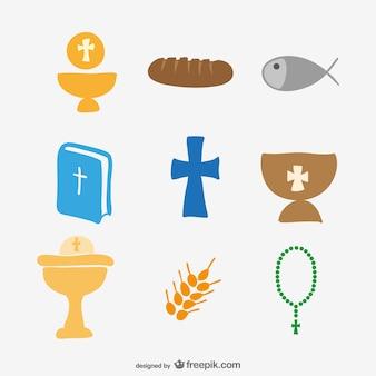 église icônes de dessin ensemble