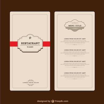 élégant menu de restaurant