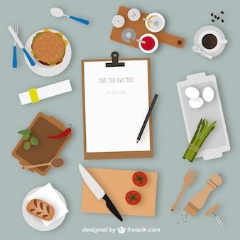 éléments de cuisine et le menu