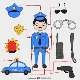 éléments de la police vecteur