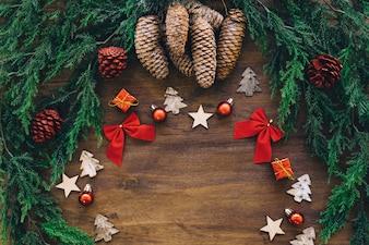 Éléments de Noël avec un espace au milieu