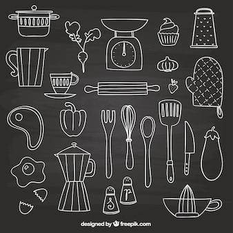 éléments dessinés à la main pour la cuisine
