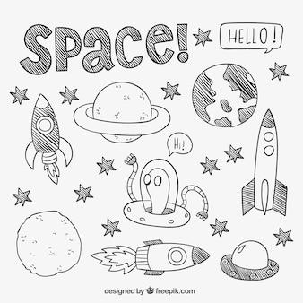 éléments spatiaux dessinés à la main