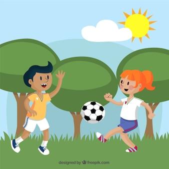 Enfants jouant au soccer