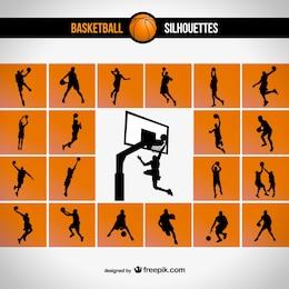 Ensemble de basket-ball silhouette