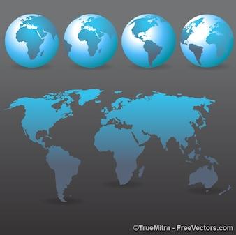 Ensemble de terres bleu et wold map