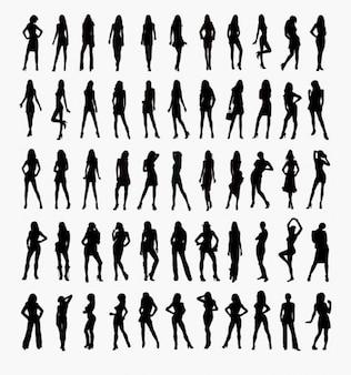 ensemble de vecteurs de silhouettes de femme