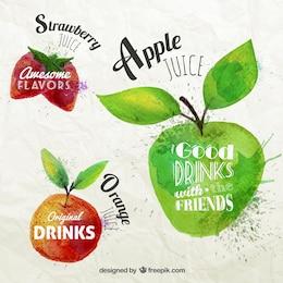 Étiquette de fruits typographique