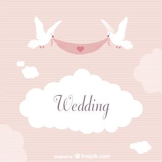 étiquette de mariage avec des colombes