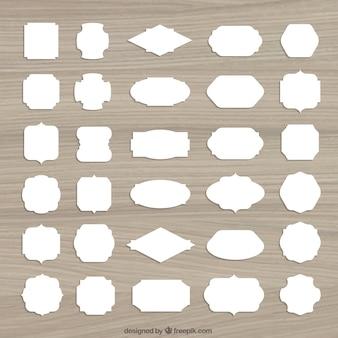 Étiquettes blanches rétro