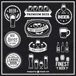 étiquettes de bière en noir et blanc