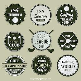 étiquettes de la ligue de golf mis