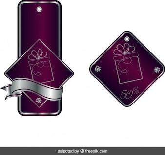 Étiquettes de Noël moderne à Bordeaux et argent couleurs
