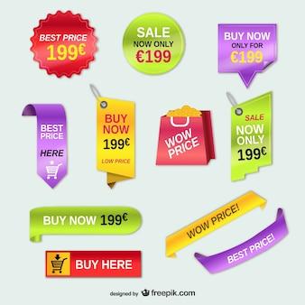 étiquettes de prix de la publicité vecteur ensemble