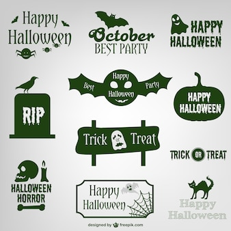 étiquettes et logos de conception de collection de Halloween