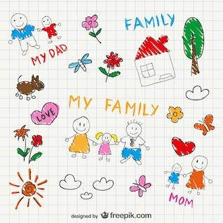 Famille de dessin vectoriel de croquis
