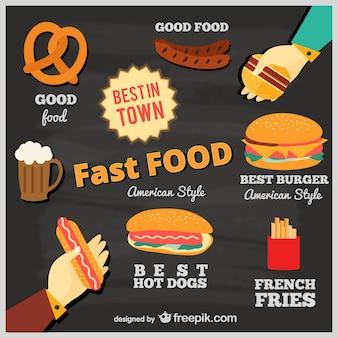La publicité de la restauration rapide sur le tableau noir