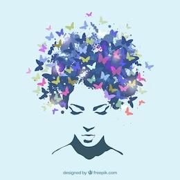 Femme avec les cheveux en papillons