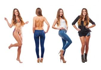Femme Beautifull avec des vêtements différents