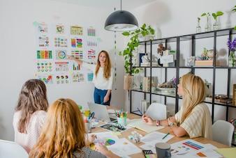 Femme d'affaires, présentation, diagramme