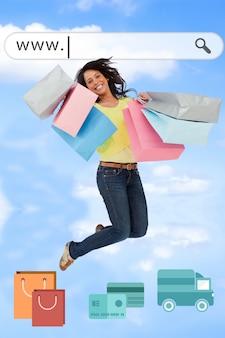 Femme sautant avec une page web up