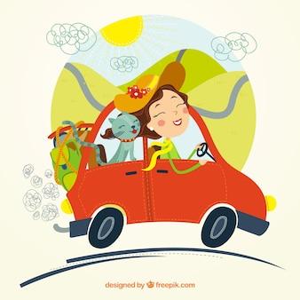 Femme voyageant avec son chat