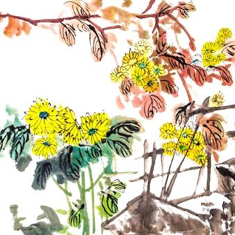 Festival de la tradition de fleurs d'oiseaux dessin Chine