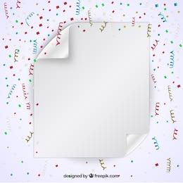 Feuille de papier avec des confettis