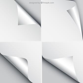 Feuilles de papier avec des coins recourbés