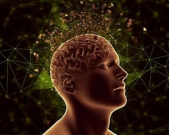 Figure masculine 3D avec un cerveau pixelé présentant des problèmes de santé mentale