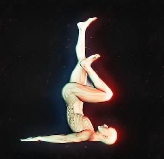 Figure masculine 3D en pose d'exercice avec double effet de couleur