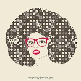 Fille aux cheveux afro abstraite