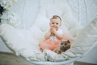 Fille avec chat
