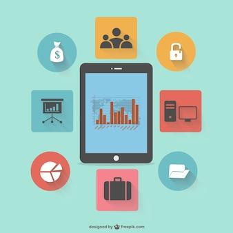 Conception de la tablette infographie plat