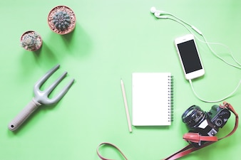 Flat lay of greeney with cactus, smartphone, cahier et caméra