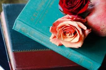 Fleur sur le dessus d'un livre
