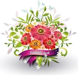 fleurs avec ruban vecteur