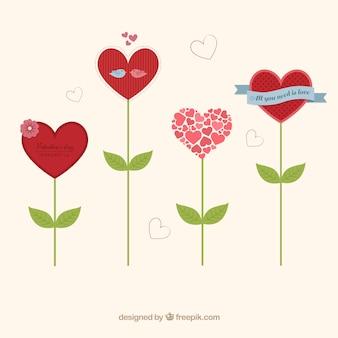 En forme de coeur l ments de dessin anim vecteur arbres t l charger des v - Fleurs en forme de coeur ...